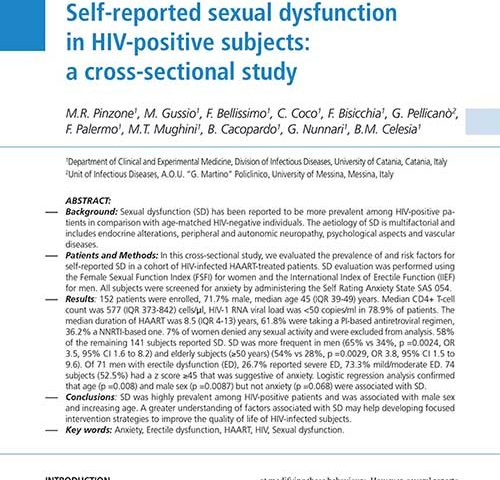 Self-reported sexual dysfunction in HIV-positive subjects: a
